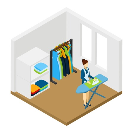 household work: Household processional help for working women isometric pictogram with ironing and cleaning service at work abstract vector illustration Illustration