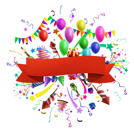 Celebration composition template with red ribbon and balloons decoration on background vector illustration