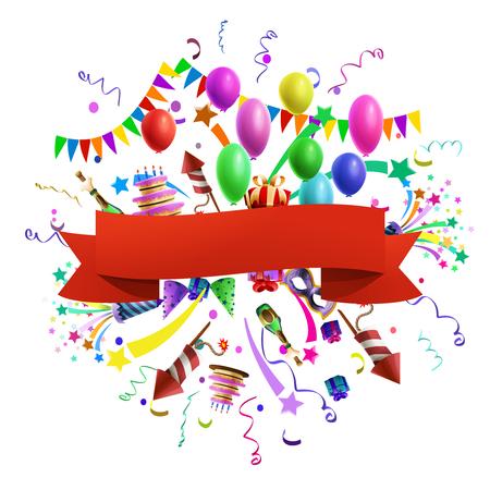 tortas de cumpleaños: plantilla de composición de celebración con globos y decoración de la cinta roja sobre fondo ilustración vectorial Vectores
