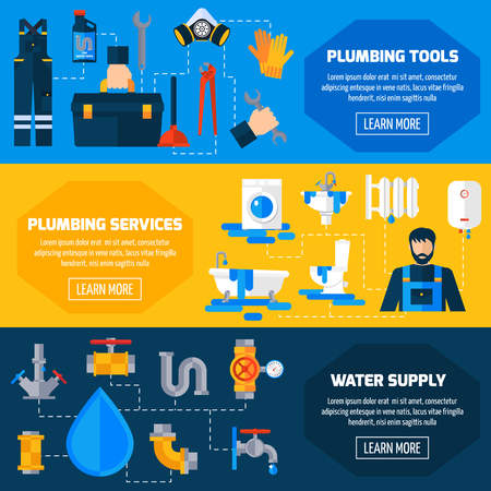 leakage: Plumbing sanitary repair installation maintenance and leakage fixing service information 3 flat horizontal banners set abstract vector illustration Illustration