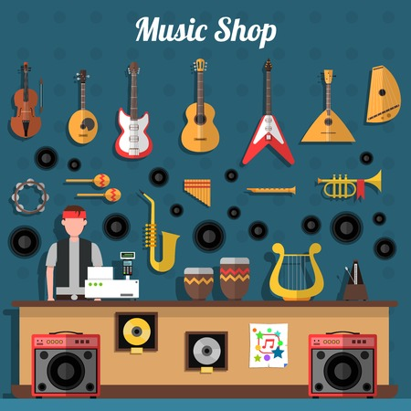 brass instrument: Music shop concept with musical instruments and records flat vector illustration Illustration
