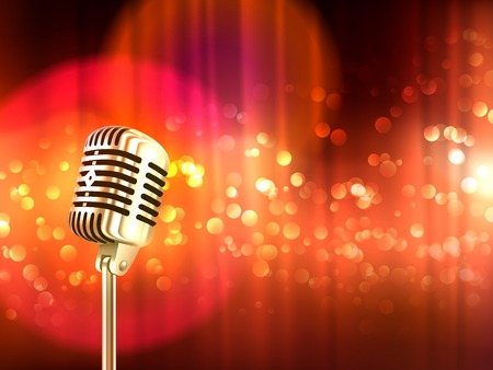 Ouderwetse retro grote metalen microfoon tegen wazig rood licht vlekken achtergrond vintage poster abstract vector illustratie