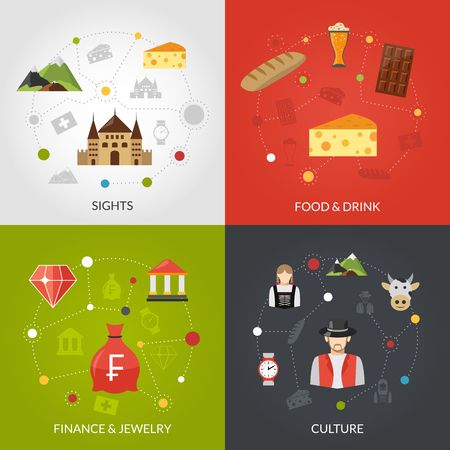 swiss culture: Switzerland design concept set with sights food and culture flat icons isolated vector illustration Illustration