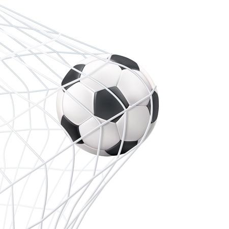 Juego de fútbol momento de gol del partido con la pelota en la ilustración de vector de imagen en blanco y negro neto