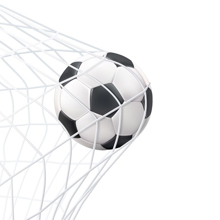 goals: Soccer game match goal moment with ball in the net black white picture vector illustration