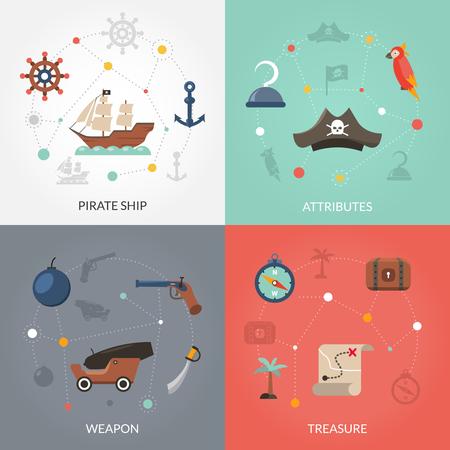 drapeau pirate: concept Pirate réglé avec une arme de navire et trésor icônes plates isolé illustration vectorielle