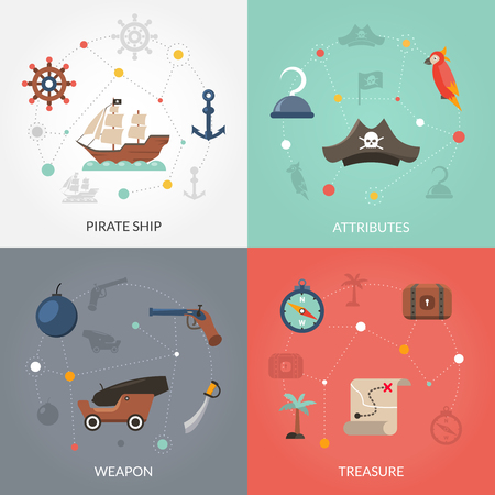 pirata: concepto de diseño pirata conjunto con arma barco y el tesoro iconos planos aislados ilustración vectorial