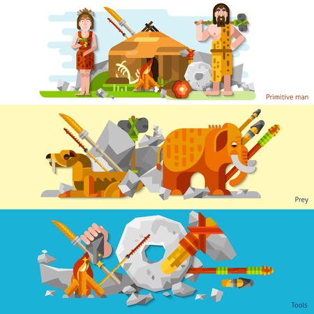 Prehistoric bannières homme des cavernes de l'âge de pierre dans le style de bande dessinée avec l'homme et la femme dans la peau animale outils de travail arme et proies plat illustration vectorielle