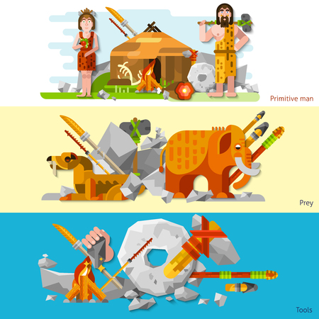 Prehistoric stone age caveman banners in cartoon style with man and woman in animal skin labor tools weapon and prey flat vector illustration