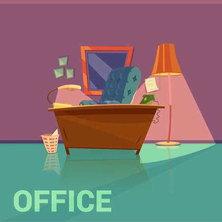 document: Office retro design with lamp armchair and telephone cartoon vector illustration Illustration