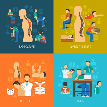 Posture 2x2 flat design concept set of people with scoliosis osteopath with  patient and corrective orthopedic products vector illustration