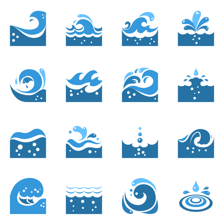 sea water: Blue wave flat icons set with sea swirl and water splashing isolated vector illustration Illustration