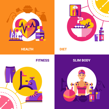 slim body: Fitness 2x2 flat design concept set with icons of healthy food wellness diet fitness equipment and exercises for slim body vector illustration Illustration
