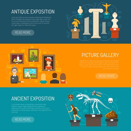 Musée bannière horizontale fixé avec des expositions de découvertes archéologiques et des expositions d'antiquités et galerie d'image vecteur plat illustration Vecteurs