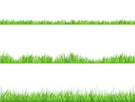 Più bello prato 3 altezze erba ideale per lo sfalcio di banner orizzontali piatti insieme astratto isolato illustrazione vettoriale Vettoriali
