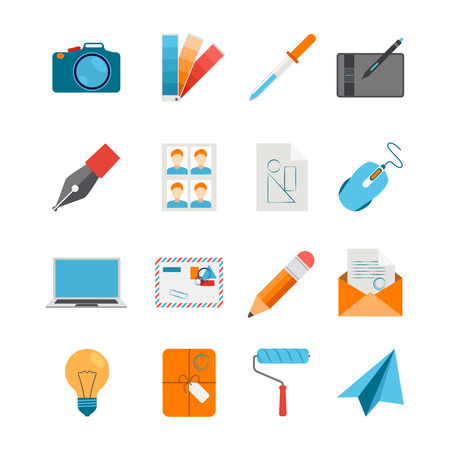digitizer: Creative design icons flat set for web and graphic design with camera mouse digitizer laptop on white background isolated vector illustration Illustration