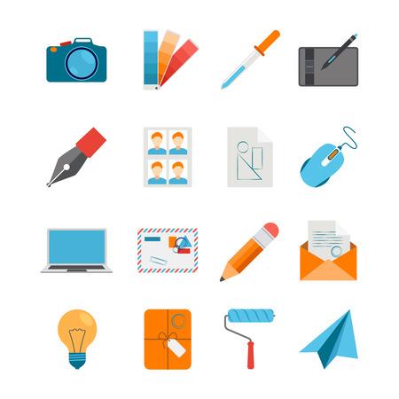 paleta de pintor: El diseño creativo iconos Conjunto plana para la web y diseño gráfico con ordenador portátil digitalizador cámara aislada del ratón sobre el fondo blanco ilustración vectorial