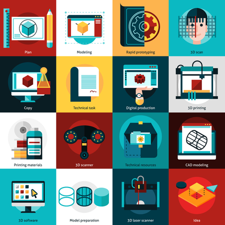 3D technology flat icons set for   prototyping with laser scanner 3d printer and cad modeling isolated vector illustration Illustration