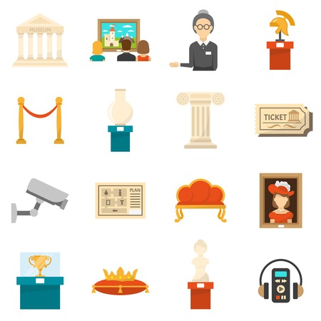 Museum decorative flat color icons set of exhibits audio guide headphones and ticket isolated vector illustration Illustration