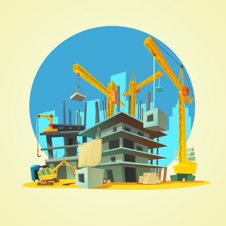 Budowa budynku z dźwigiem i koparki na żółtym tle ilustracji wektorowych kreskówki