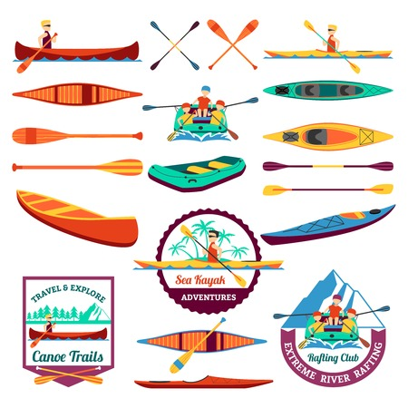 sentiers de canoë et le rafting emblème du club avec des éléments d'équipement de kayak icônes plates composition abstraite isolée illustration vectorielle