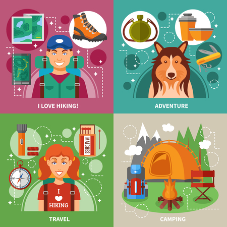 expedition: Hiking 2x2 flat design concept with expedition equipment camping composition travel accessories vector illustration
