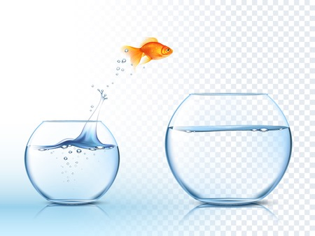 water tanks: Goldfish jumping out one fishbowl to another aquarium with clear water against light checkered background poster vector illustration