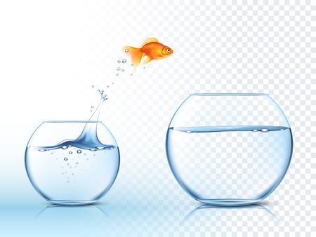 Goldfish springt aus einem Goldfischglas in einem anderen Aquarium mit klarem Wasser gegen Licht karierten Hintergrund Plakat Vektor-Illustration
