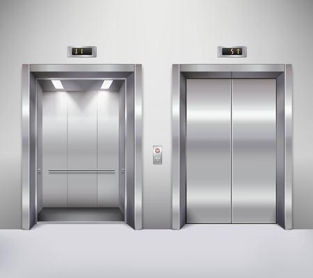 acier: portes de l'ascenseur chrome immeuble de bureaux en métal ouverts et fermés réaliste illustration vectorielle