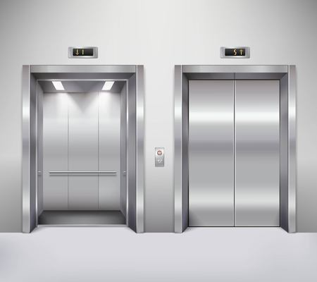 cerrar puerta: Puertas abiertas y cerradas del ascensor cromo edificio de oficinas de metal ilustración realista Vectores