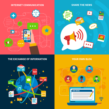 information  isolated: Social network concept icons set with internet communication and exchange of information symbols flat isolated vector illustration