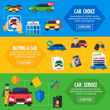 dealership: Car dealership with wide choice vehicles for sale and service facilities 3 flat horizontal banners collection vector illustration