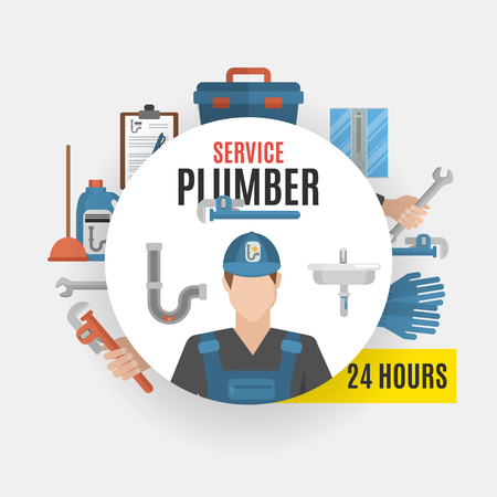 Plumber service design concept set of tools for repairing pipeline and cleaning clogged sink flat vector illustration
