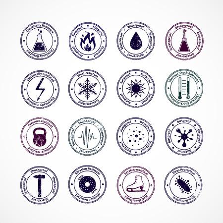 Bescherming bewijs round postzegels met schokbestendige waterdichte brandwerende geluidsdichte borden in het centrum en het uitleggen van tekst rond geïsoleerde vector illustratie Stock Illustratie