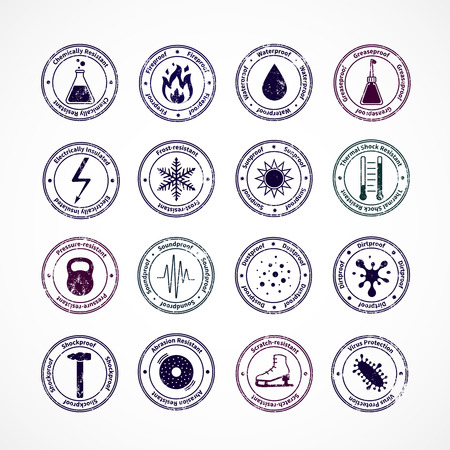 fireproof: Protection proof round stamps with shockproof waterproof fireproof soundproof signs in center and explaining text around isolated vector illustration Illustration