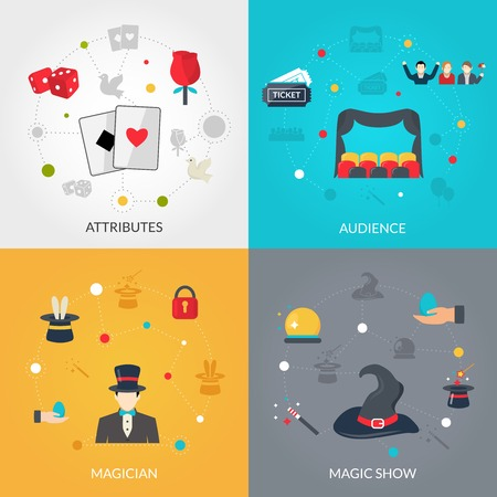 attributes: Magician design concept set with magis show attributes flat icons isolated vector illustration