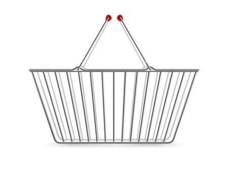 square image: Chrome plated wire metal double handles square empty shopping basket realistic image pictogram vector illustration Illustration