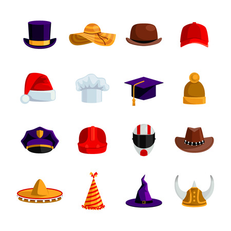 academics: Hats and caps flat color icons set of sombrero bowler square academic hat baseball cap straw hat santa claus and clown caps isolated vector illustration