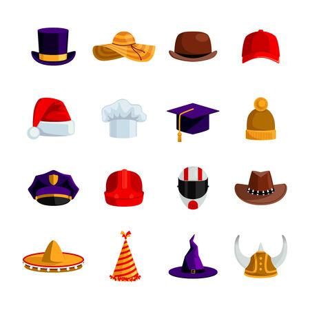 akademický: Klobouky a čepice ploché barevné ikony sada sombrero nadhazovačem čtverečních akademické čepice baseball čepice slaměný klobouk Santa Claus a klaunské čepice izolované vektorové ilustrace