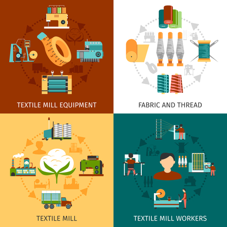 textil: Textiles trabajadores de producción molino y el equipo con la tela y los hilos 4 iconos planos cuadrados de composición abstracta ilustración vectorial