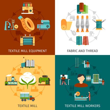 Trabalhadores de produção de moinho têxtil e equipamentos com tecido e fios 4 ícones lisos quadrados composição abstrata ilustração vetorial