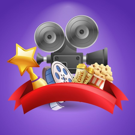 cinema film: Cinema background with camera film reel and popcorn vector illustration