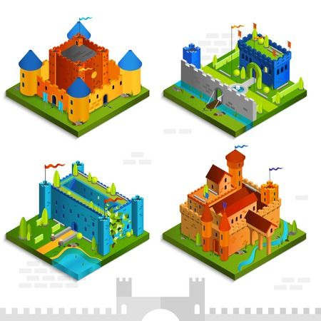 fortress: Medieval castles isometric collection with towers flags and walls in cartoon style vector illustration