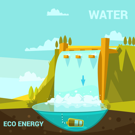 hydroelectric: Ecological energy poster with hydroelectric power station cartoon retro style vector illustration