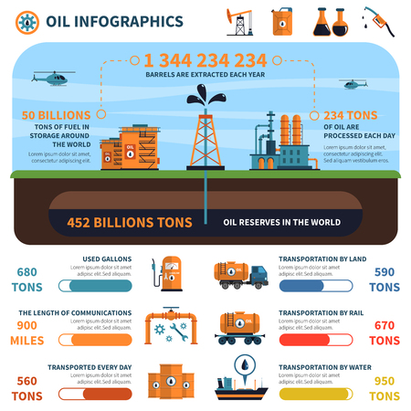business marketing: Oil infographics set with energy generation symbols and charts vector illustration