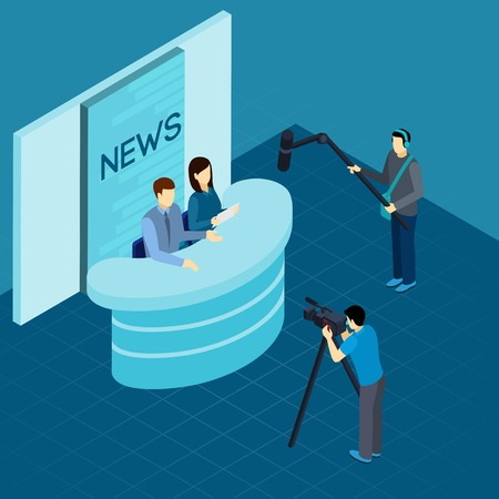 live: Professional journalist at work broadcasting breaking news live from tv studio isometric banner abstract vector illustration