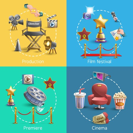 blue and gold: Cinema design concept set with cinema premiere icons isolated vector illustration