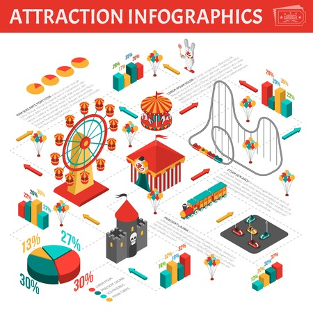 Attrazioni Parco divertimenti visitatori analisi statistica infografica presentazione visiva con isometrica pittogrammi informazioni e diagrammi illustrazione vettoriale