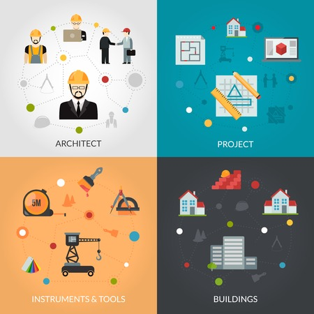 tools icon: Architect design concept set with house project and building tools flat icons isolated vector illustration Illustration