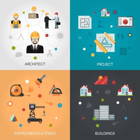 arquitecto: concepto de diseño arquitecto conjunto con herramientas de ilustración vectorial de proyectos casa y la creación de iconos planos aislados